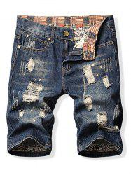 Destroy Wash Patchwork Denim Shorts -