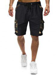 Camouflage Print Panel Casual Shorts -