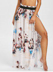 Palm Tree Print Tassels Overlap Cover Up Skirt -