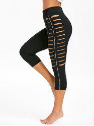 High Rise Ripped Cropped Leggings -