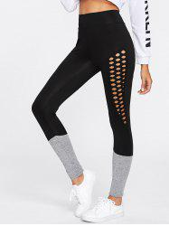 Hollow Out Two Tone Leggings -