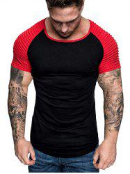 Two Tone Pleated Raglan Sleeve Tee -