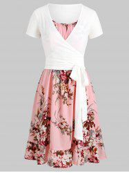 Flower Cami Dress with Plunging T-shirt -