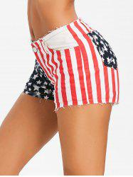 American Flag Print Frayed Shorts -