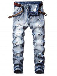 Long Straight Destroy Wash Splicing Jeans -