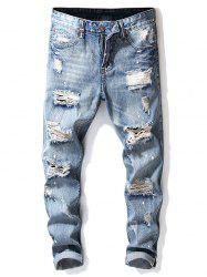 Destroy Wash Dots Print Patchwork Casual Jeans -