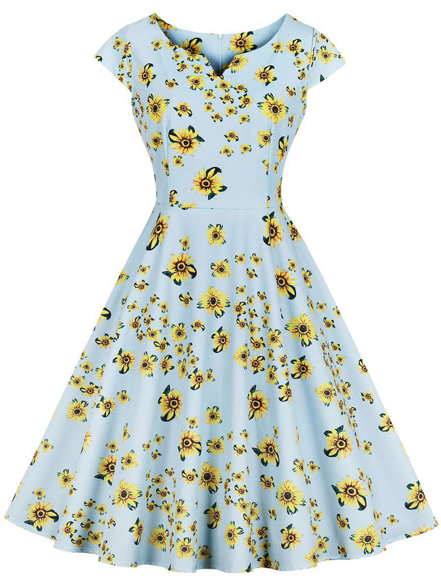 Cheap Floral Cap Sleeve A Line Retro Dress