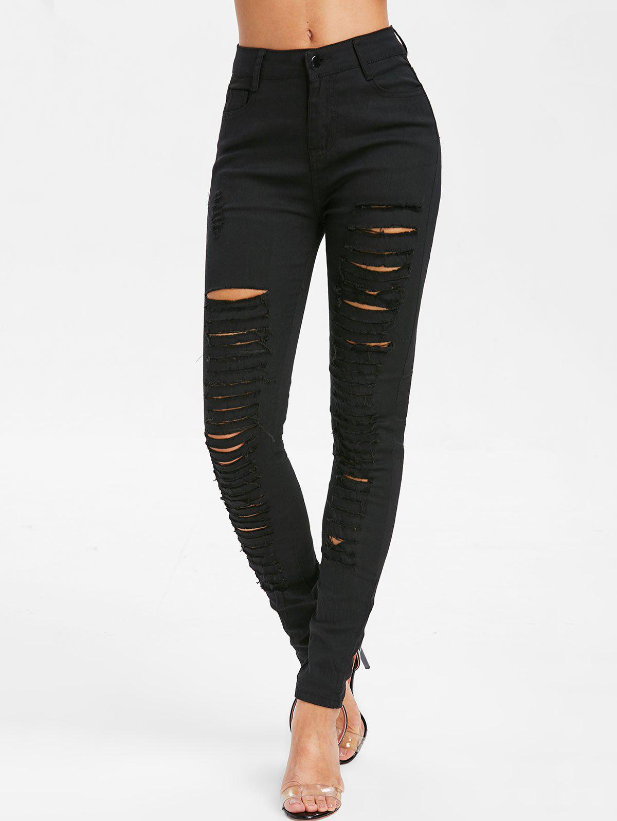 Chic Distressed Zipper Fly Five Pockets Jeans