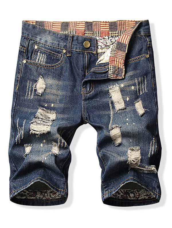 Destroy Wash Short en jean à patchwork