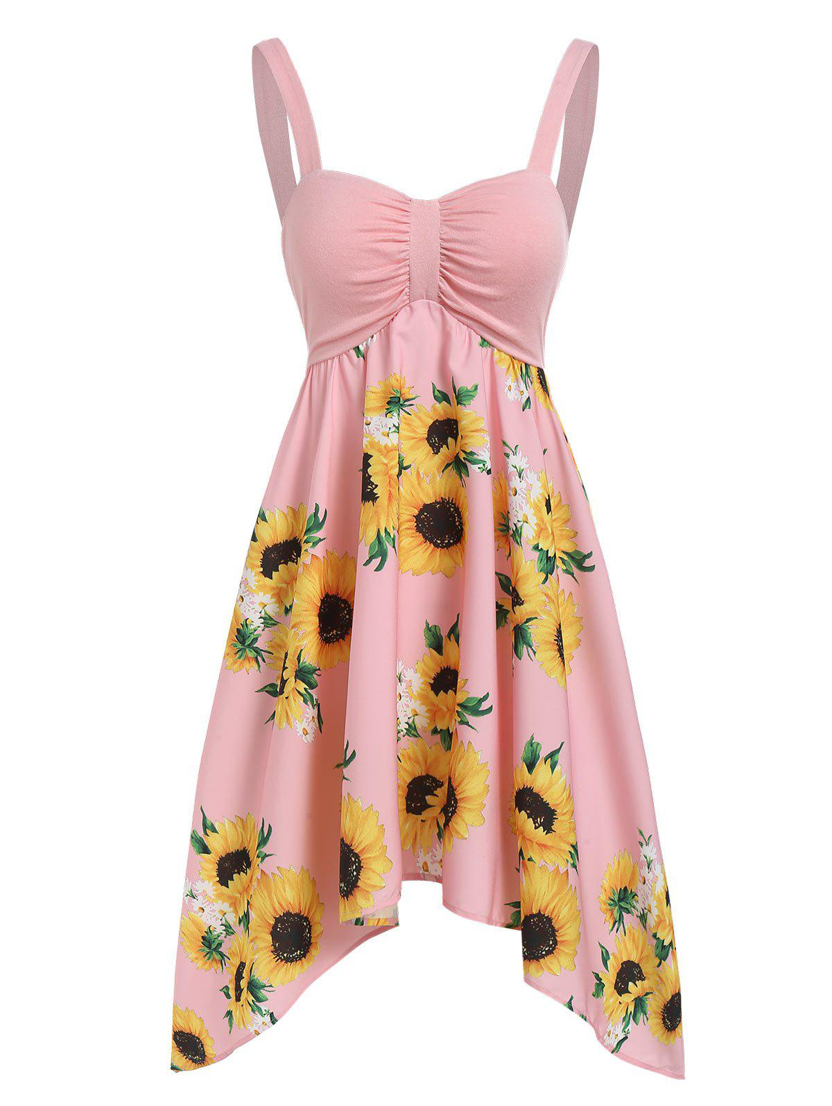 Latest Asymmetric Sunflower Ruched Casual Dress