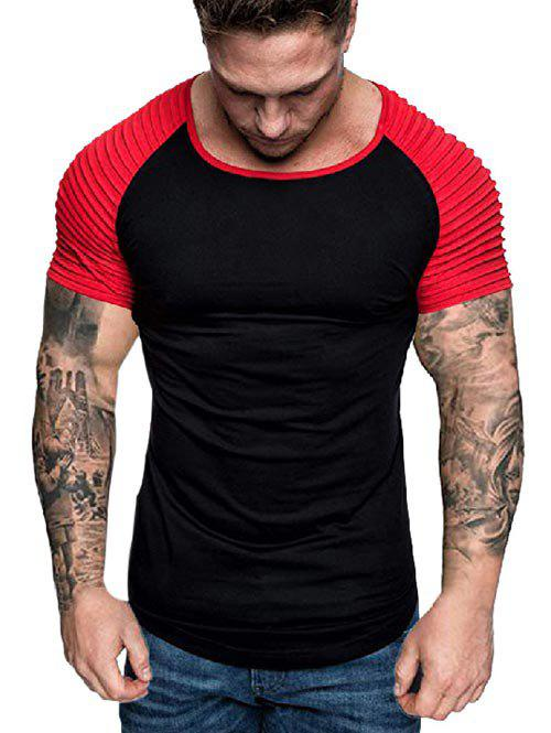Trendy Two Tone Pleated Raglan Sleeve Tee