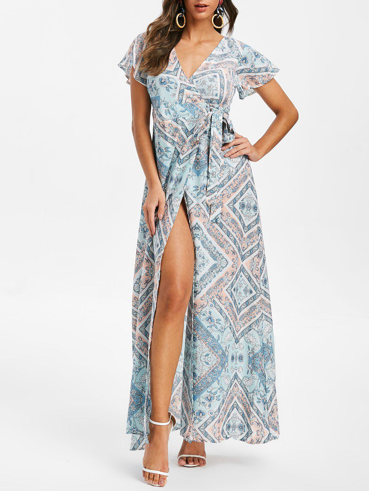 f926ab665969 47% OFF] Flower Butterfly Sleeve Maxi Dress | Rosegal