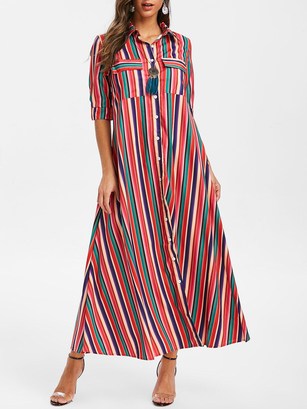 New Pocket Striped Maxi Dress