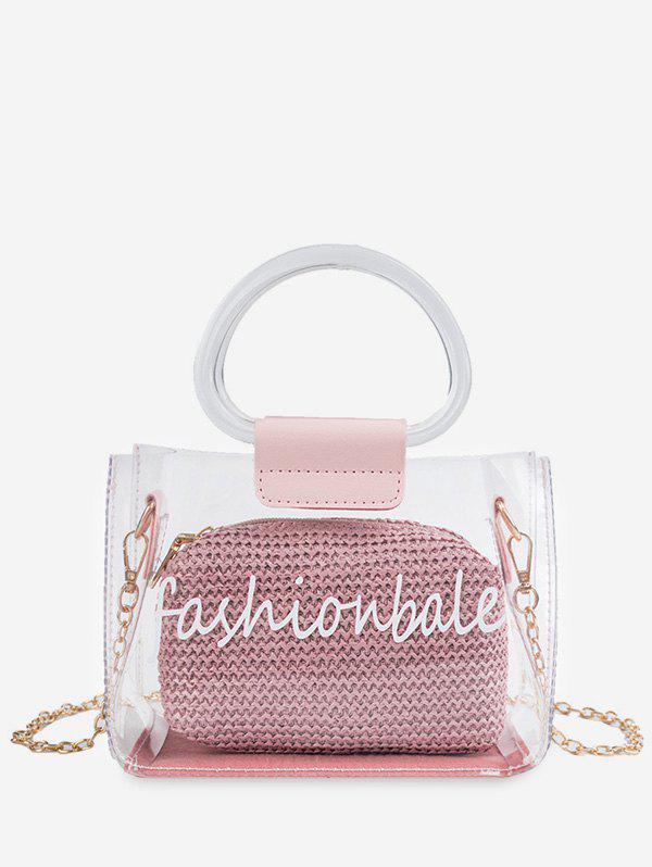 Sale Letter Print Transparent Chain Tote Bag