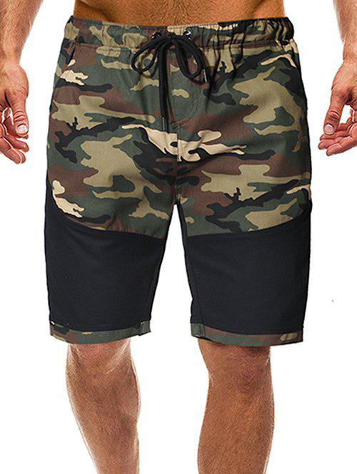 Shop Camouflage Print Splicing Casual Shorts