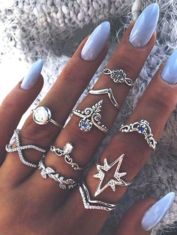 Outfit Ten Piece Simple Diamante Ring Set