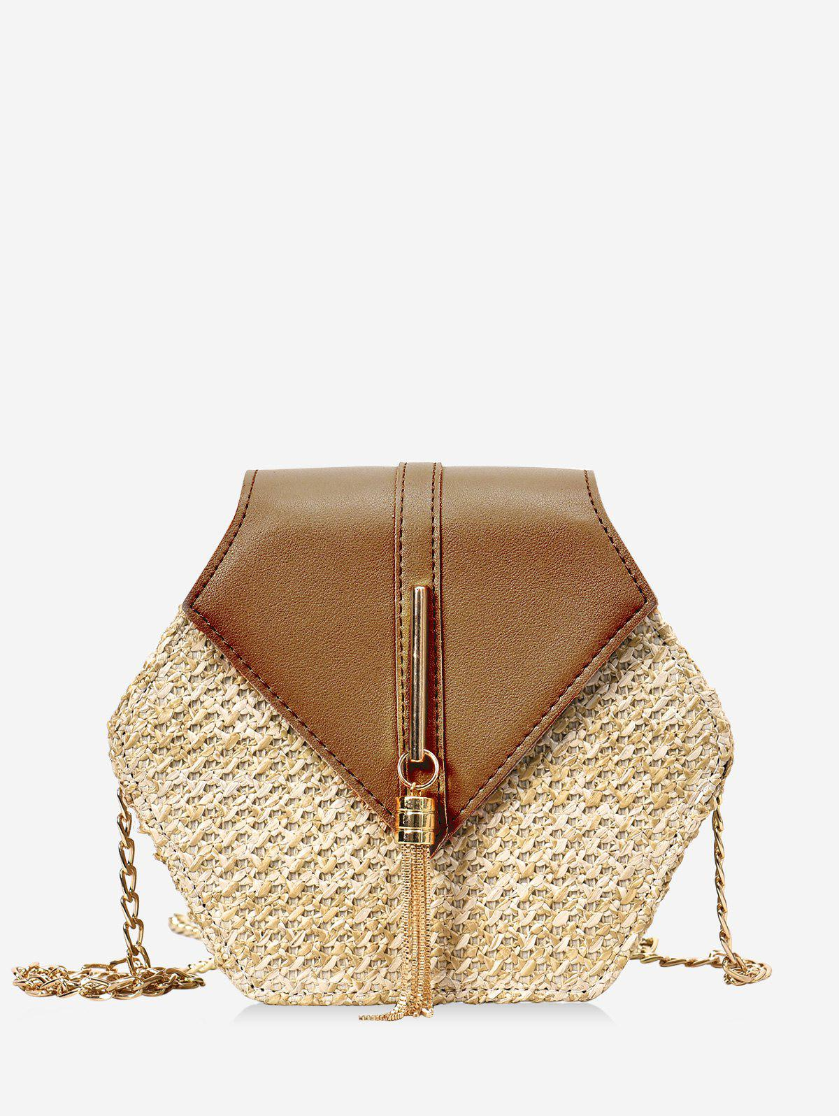 Affordable Fringed Geometric Straw Crossbody Bag