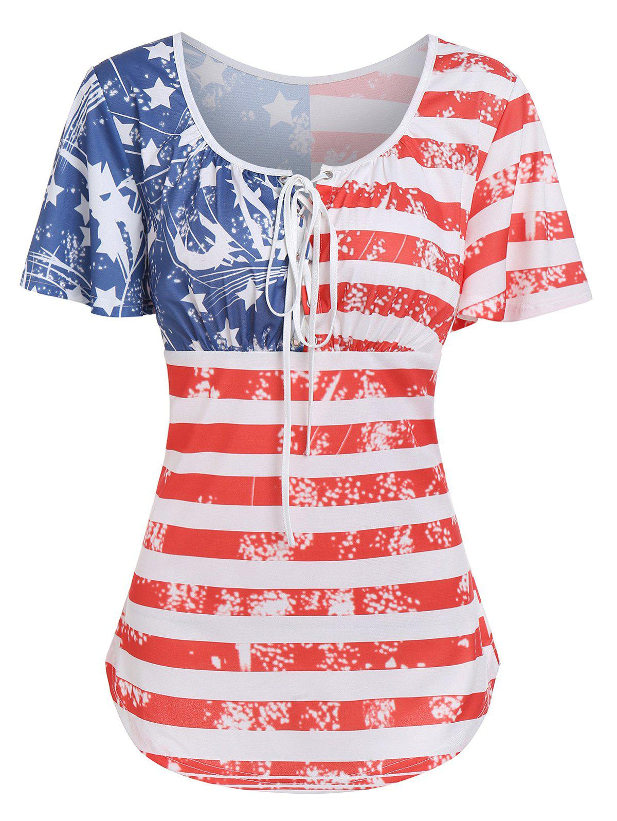 Latest American Flag Printed Round Collar T Shirt