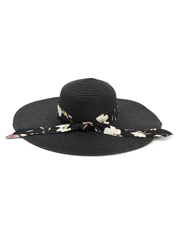 Trendy Ribbon Folding Beach Straw Sun Hat