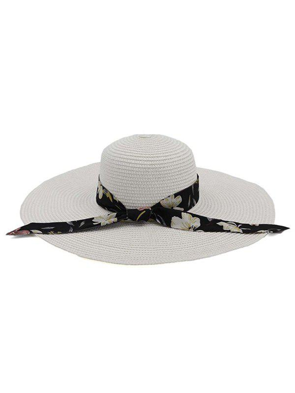 Hot Ribbon Folding Beach Straw Sun Hat