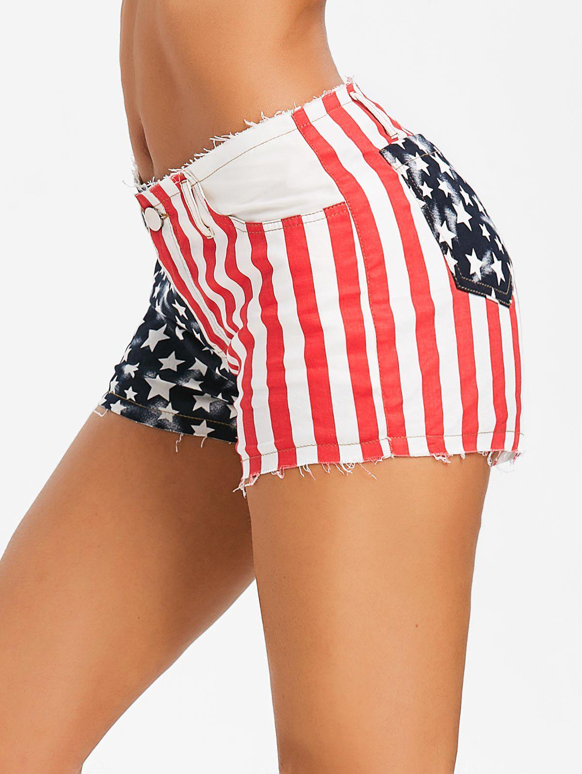 Unique American Flag Print Frayed Shorts