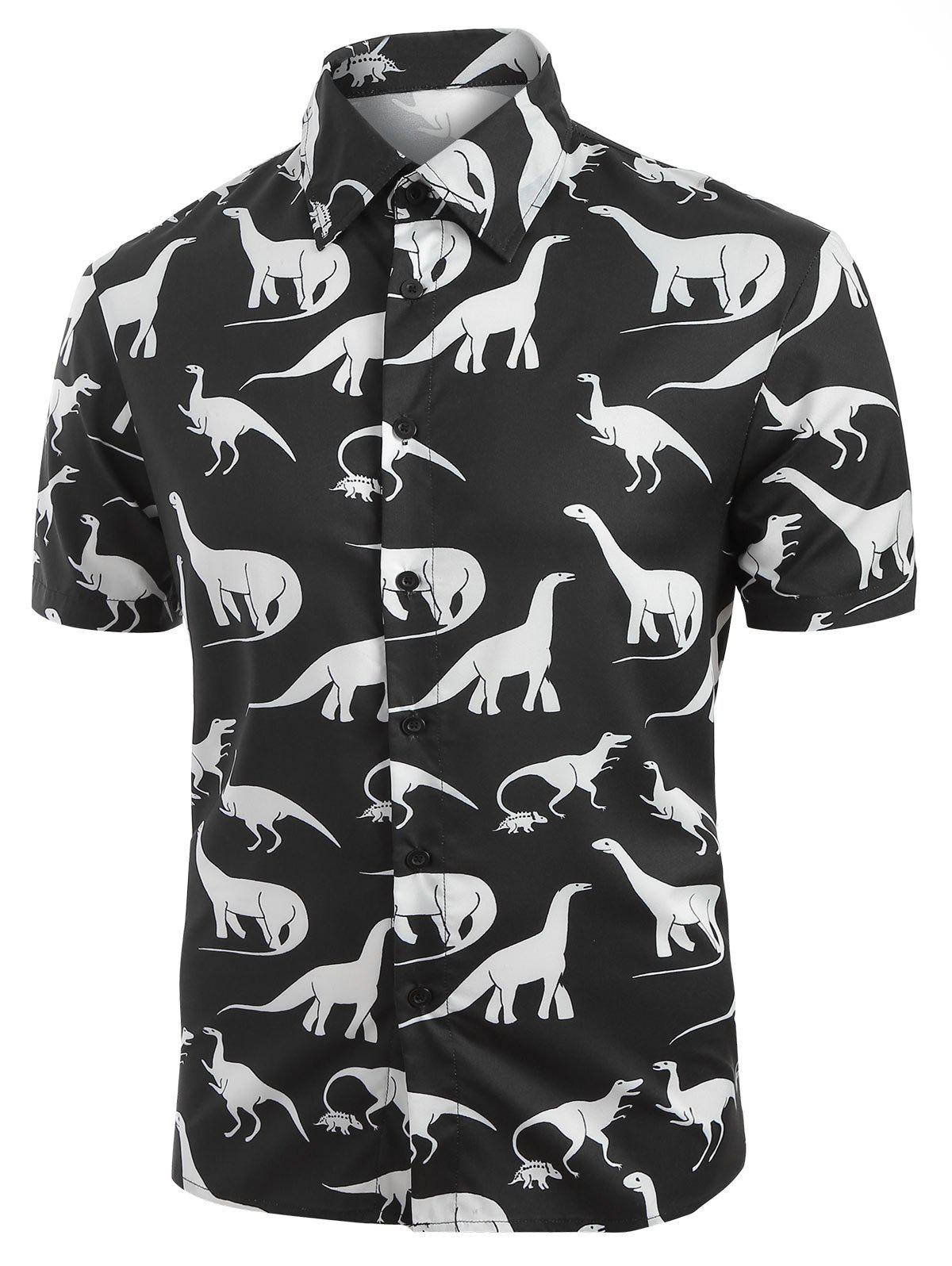 Hot Dinosaur Pattern Casual Short Sleeves Shirt