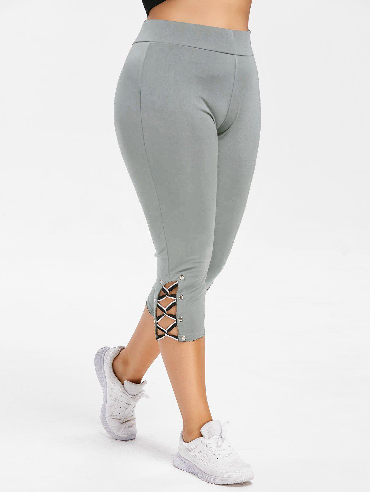 Cheap Plus Size Criss Cross Capri Skinny Gym Leggings