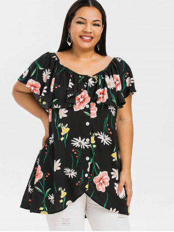 Plus Size Ruffled High Low Floral Blouse
