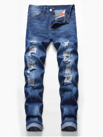 Zip Fly Design Ripped Casual Jeans