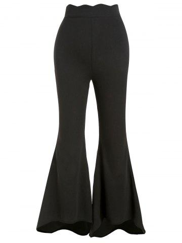 Zipper Side Scalloped Boot Cut Pants