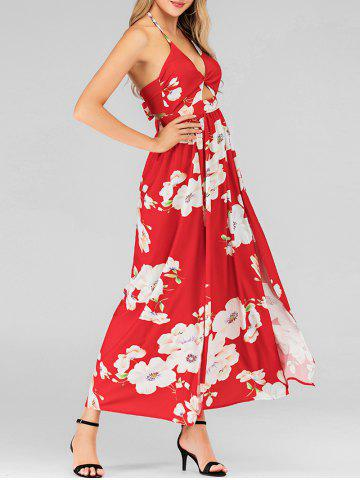 Halter Flower Twist High Slit Long Dress