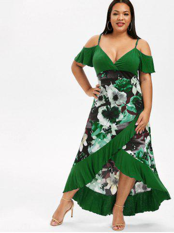Plus Size High Low Cold Shoulder Ruffle Dress