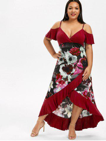 d76c9b318 Plus Size High Low Cold Shoulder Ruffle Dress