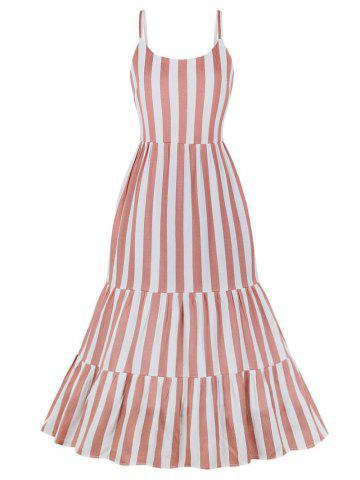 Maxi Striped Casual Flounce Dress