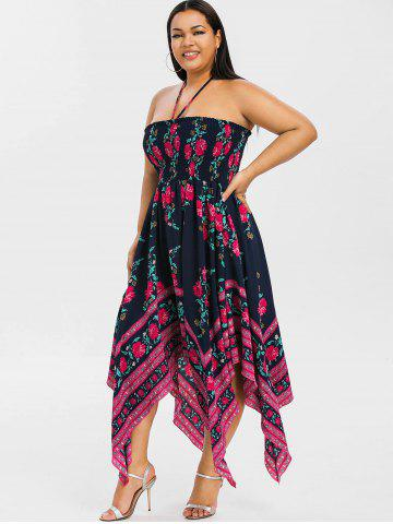 Plus Size Floral Smocked Handkerchief Dress
