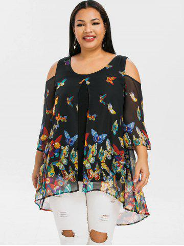 Plus Size Butterfly Print Cold Shoulder Blouse
