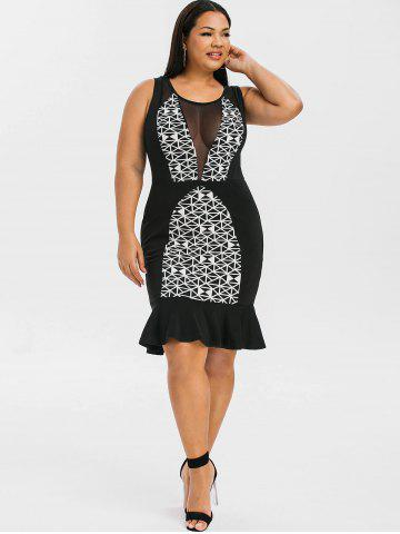 Mesh Panels Plus Size Mermaid Dress