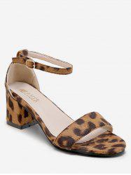 Mid Heel Buckled Leopard Print Sandals -
