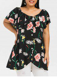 Plus Size Ruffled High Low Floral Blouse -