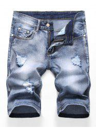 Zipper Fly Design Ripped Denim Shorts -