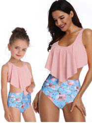 Floral Print Overlay Family Swimsuit -