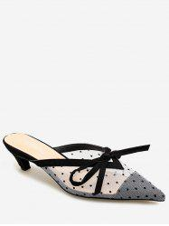 Lace Bowknot Design Pointed Toe Sandals -