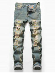 Zip Fly Design Ripped Casual Jeans -