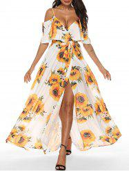 Sunflower Open Shoulder Flounce Dress -