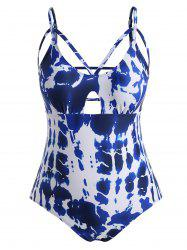 Plus Size Ladder Cutout Tie Dye Swimsuit -