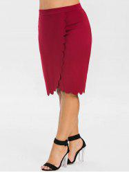 Plus Size High Rise Scalloped Pencil Skirt -