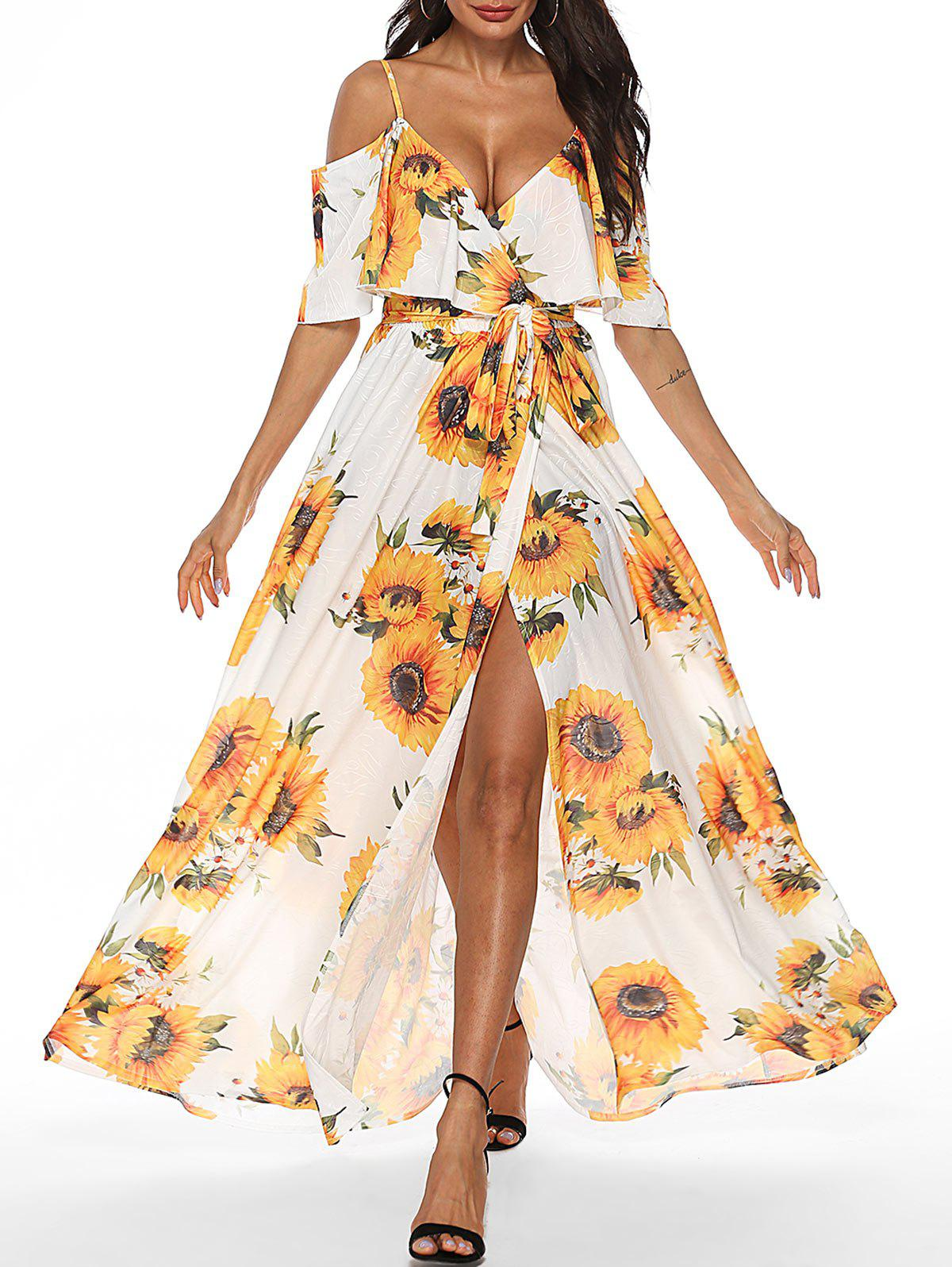 Outfit Sunflower Open Shoulder Flounce Dress