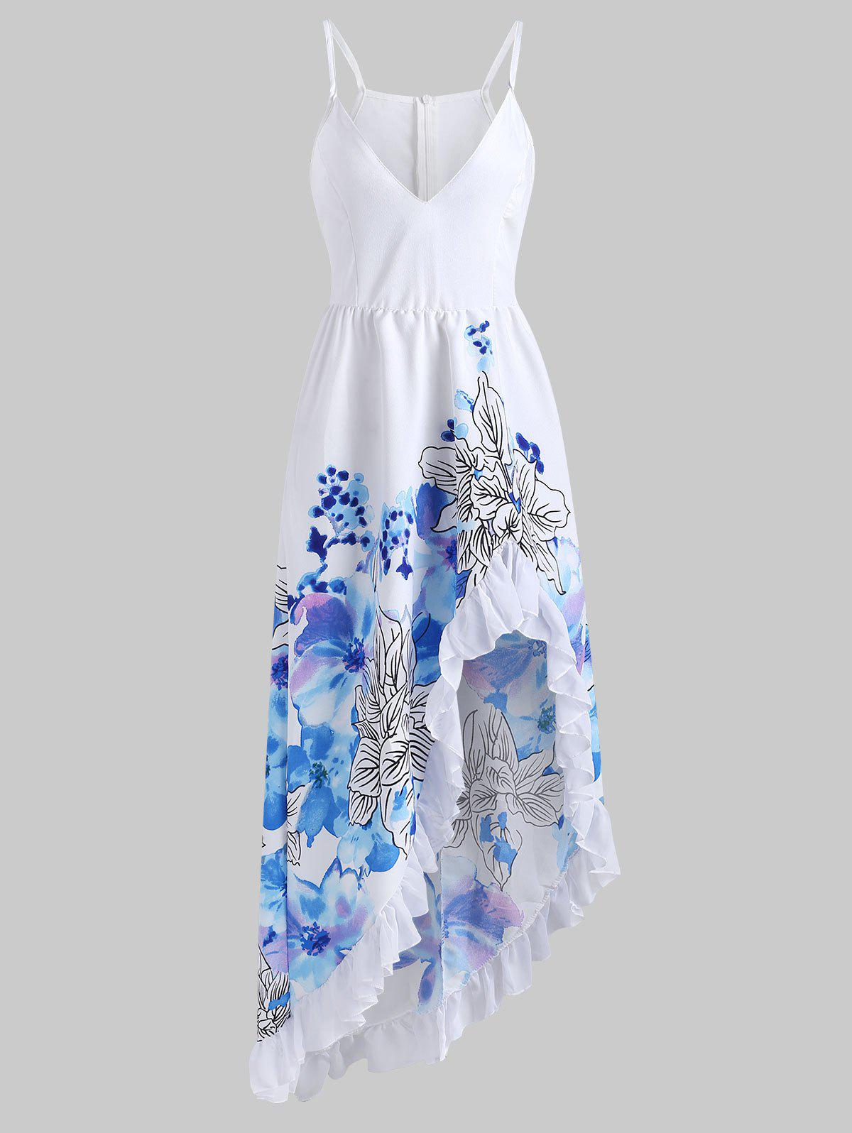 Hot Flower Ruffle Maxi Dress