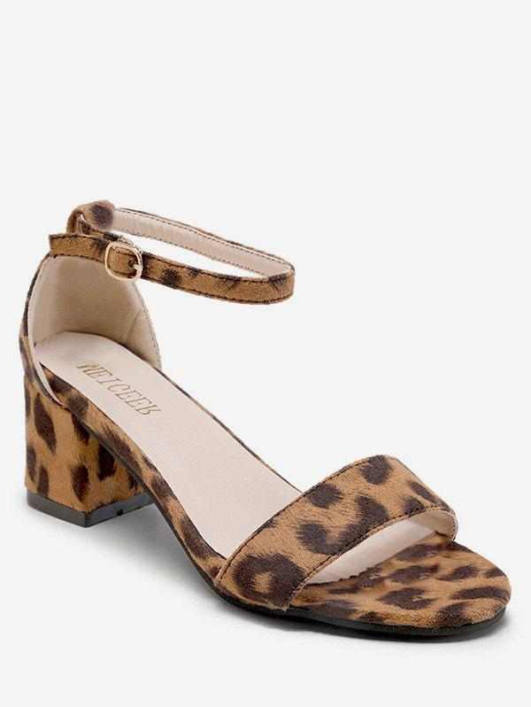 Affordable Mid Heel Buckled Leopard Print Sandals