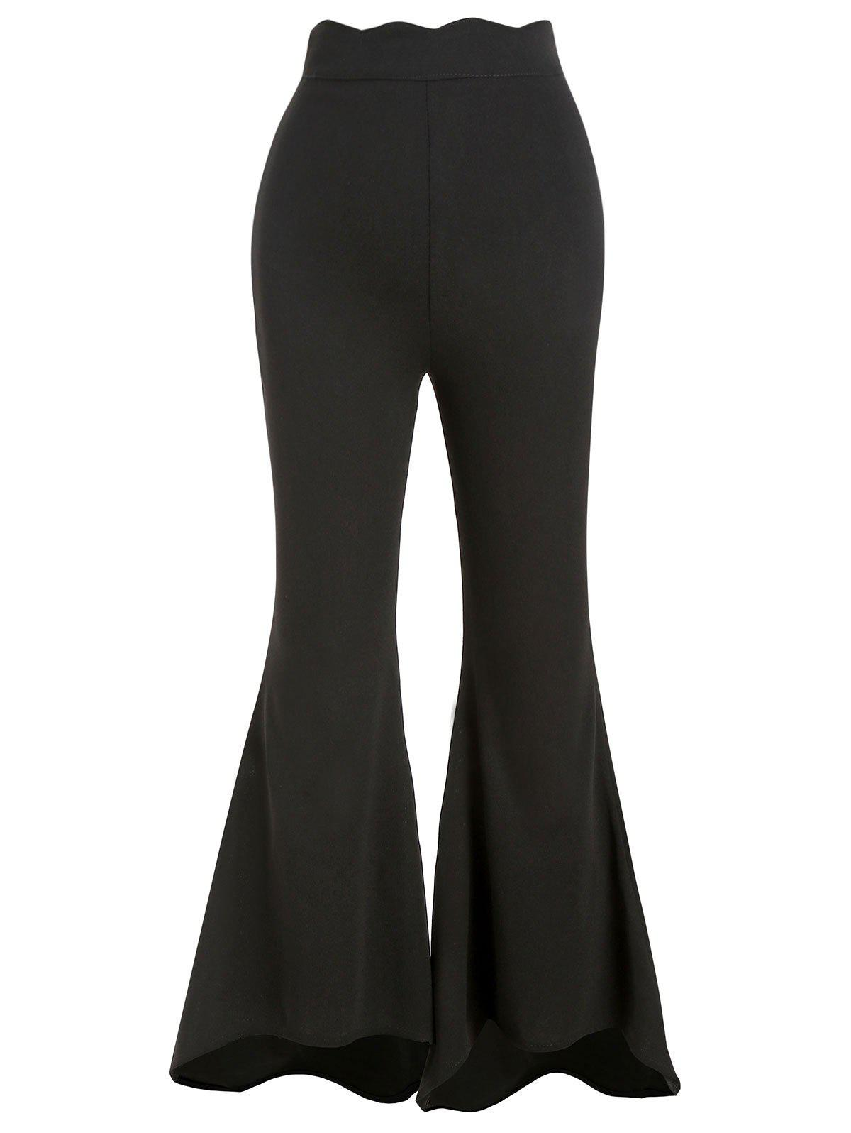 Affordable Zipper Side Scalloped Boot Cut Pants